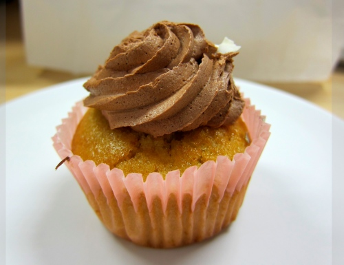 Rosewater cupcake with chocolate icing